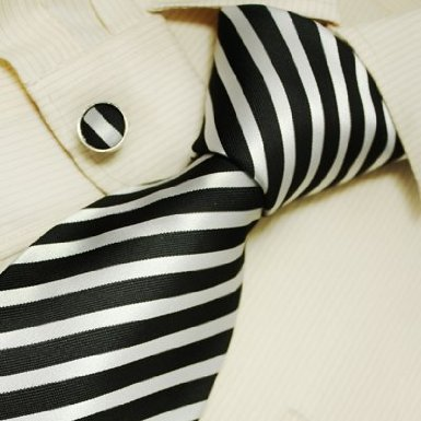 black and white stripes silk thick tie cufflinks