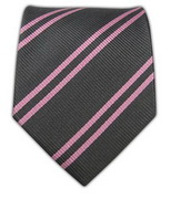 100% silk woven gray and pink double stripes