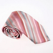 Stripped woven silver Christmas tie