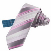 Pink and grey necktie with stripes